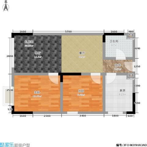 轻轨上城2室0厅1卫1厨76.00㎡户型图