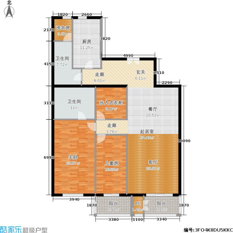 五栋大楼160.60㎡二室二厅二卫户型