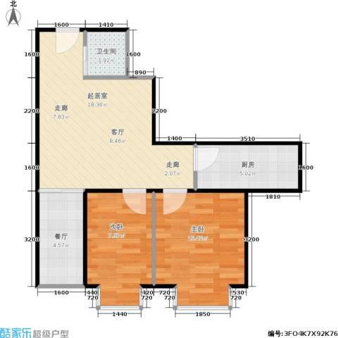 时代先锋2室1厅1卫1厨60.00㎡户型图