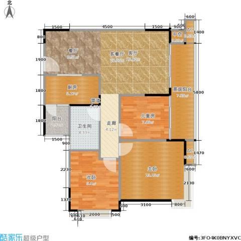 北回归线3室1厅1卫1厨79.61㎡户型图