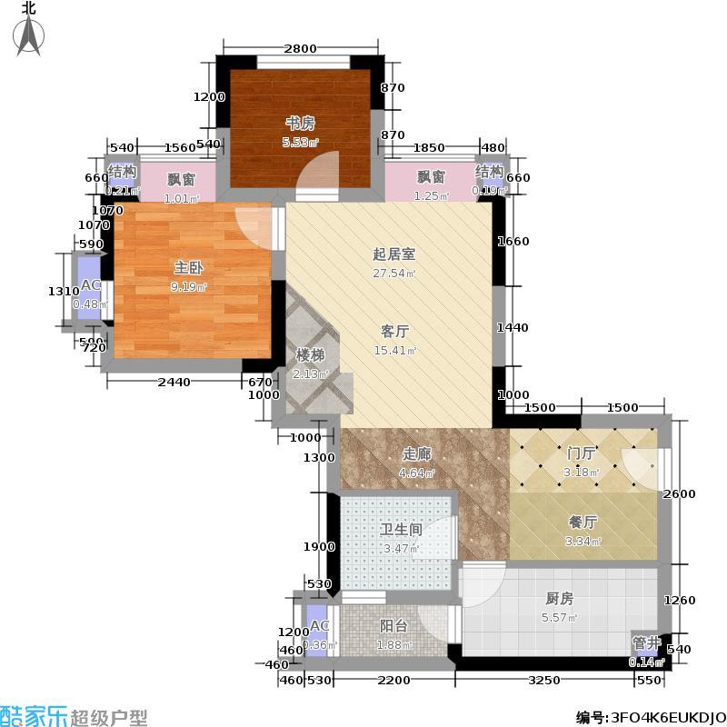 蓝光御江台66.00㎡B2户型 三室两厅两卫 套内66平 装修后实用86平 增19平户型3室2厅2卫
