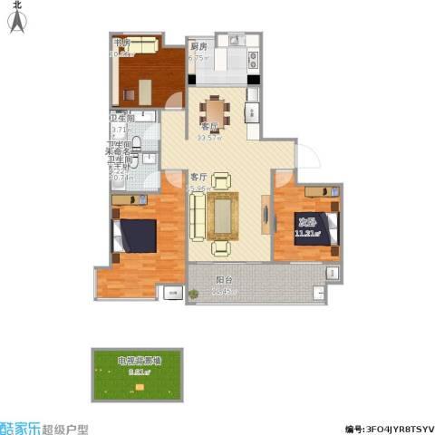 汇智湖畔家园3室1厅2卫1厨145.00㎡户型图