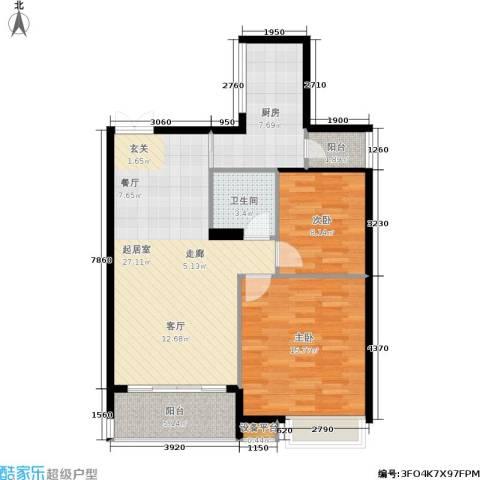 茂华国际湘2室0厅1卫1厨97.00㎡户型图