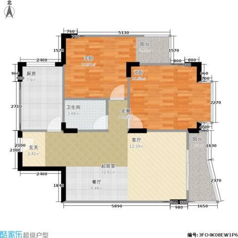 嘉新桃花里2室0厅1卫1厨81.00㎡户型图