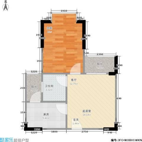 大川建博中心1室0厅1卫1厨55.00㎡户型图