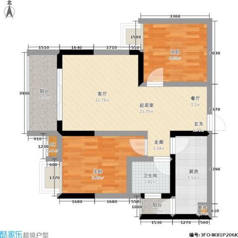 地博春天2室0厅1卫1厨59.00㎡户型图