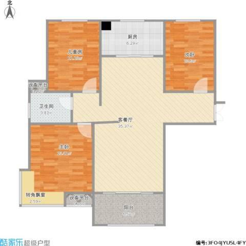 嘉业海棠湾3室1厅1卫1厨122.00㎡户型图