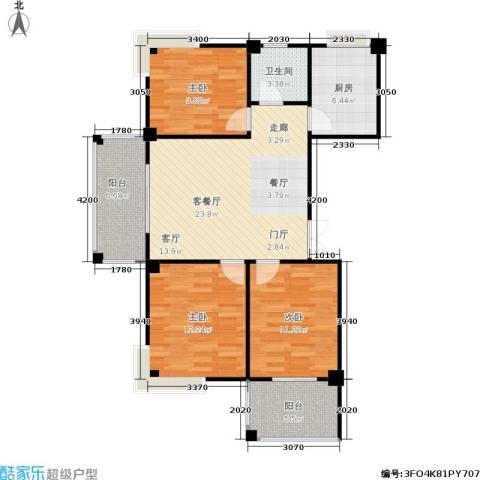 水岸兰庭3室1厅1卫1厨110.00㎡户型图