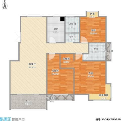 嘉业海棠湾3室1厅2卫1厨150.00㎡户型图