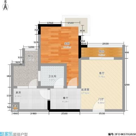 康田国际1室0厅1卫1厨48.00㎡户型图