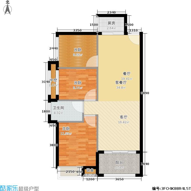 角美中骏四季阳光C户型88㎡3房2厅1卫户型3室2厅1卫