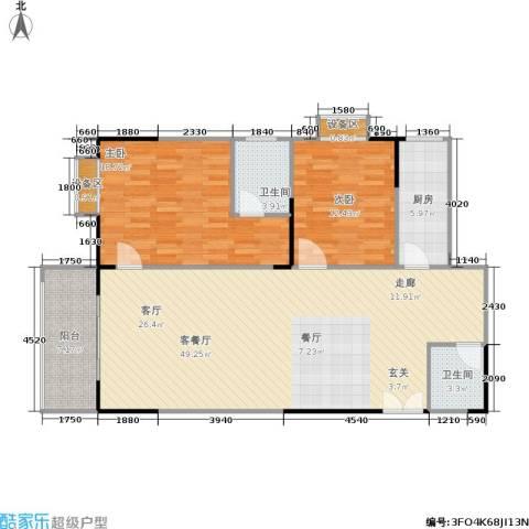 宸琪天和苑2室1厅2卫1厨137.00㎡户型图