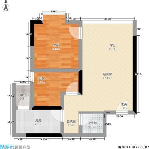 地博春天2室0厅1卫1厨66.00㎡户型图