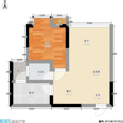 地博春天1室0厅1卫1厨54.00㎡户型图