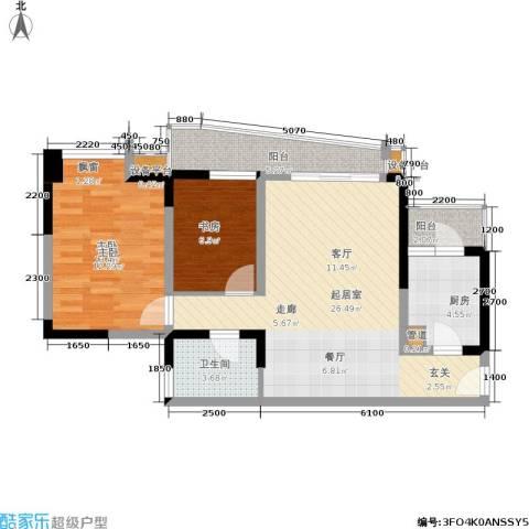 上海城二期2室0厅1卫1厨93.00㎡户型图