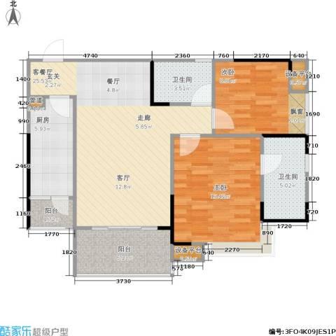 巨成龙湾2室1厅2卫1厨97.00㎡户型图
