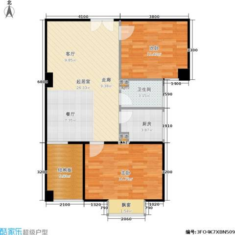 时代先锋2室0厅1卫1厨80.00㎡户型图