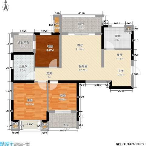 银亿海尚广场3室0厅1卫1厨88.00㎡户型图