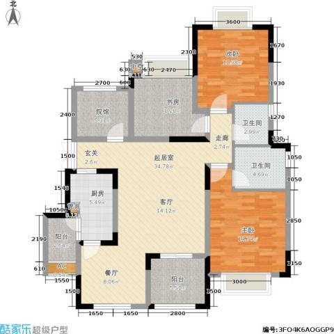 中国铁建山水时光3室0厅2卫1厨141.00㎡户型图