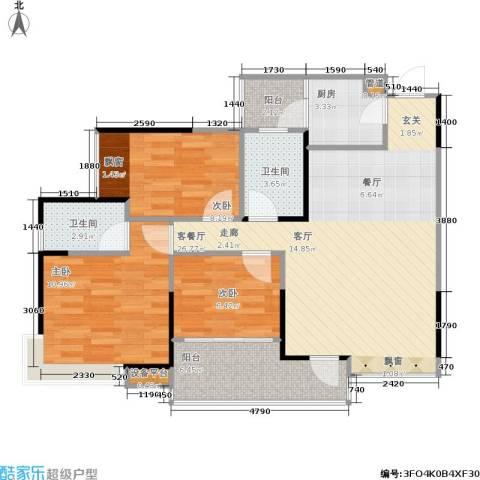 巨成龙湾3室1厅2卫1厨98.00㎡户型图
