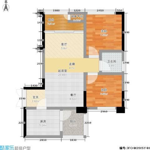 华宇老街印象2室0厅1卫1厨57.73㎡户型图