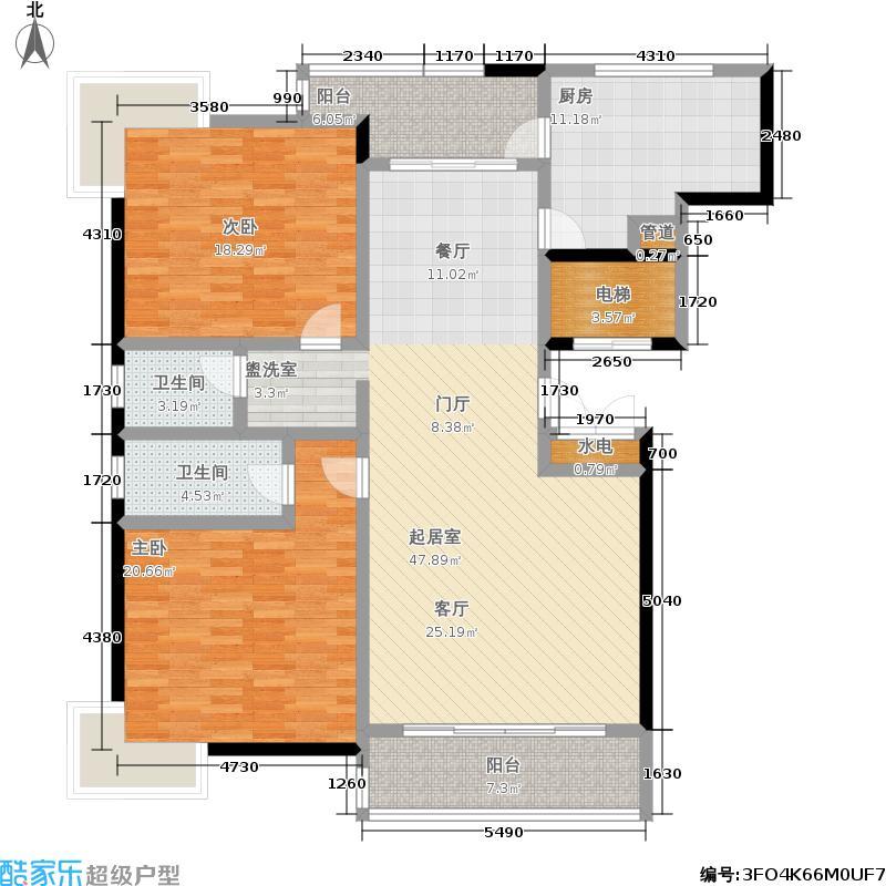 华商名邸142.00㎡房型: 二房; 面积段: 142 -151.6 平方米; 户型