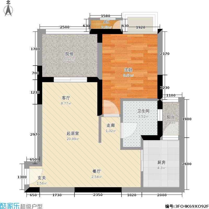 和泓阳光59.73㎡和泓阳光户型图4号楼高层C户型一室两厅一卫套内面积约48.26(3/9张)户型1室2厅1卫