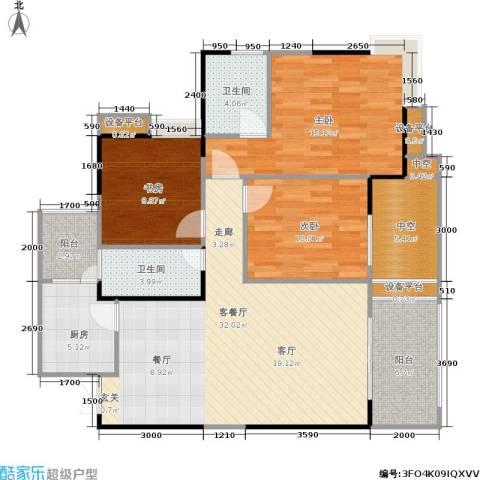 万象时代3室1厅2卫1厨105.26㎡户型图