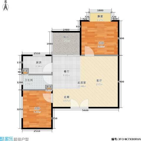 时代先锋2室0厅1卫1厨60.00㎡户型图
