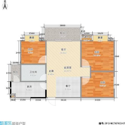 郡都彩舍3室0厅1卫1厨65.00㎡户型图