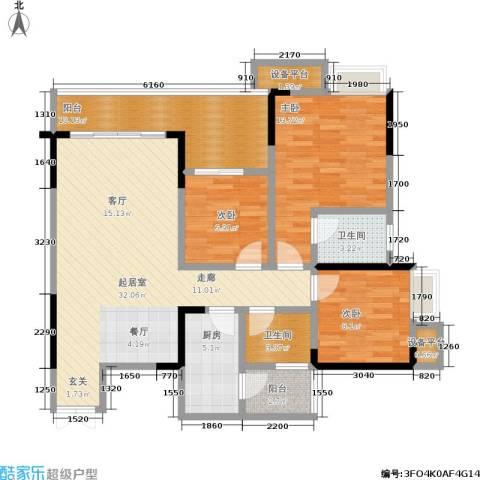 华宇老街印象3室0厅2卫1厨100.28㎡户型图