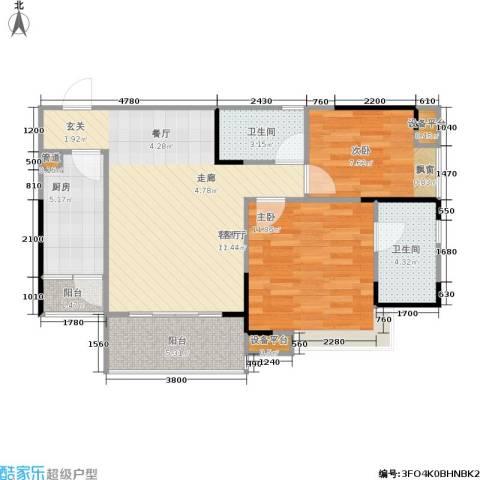 巨成龙湾2室1厅2卫1厨86.00㎡户型图