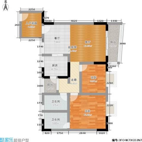 重啤龙泉苑2室0厅2卫1厨70.00㎡户型图
