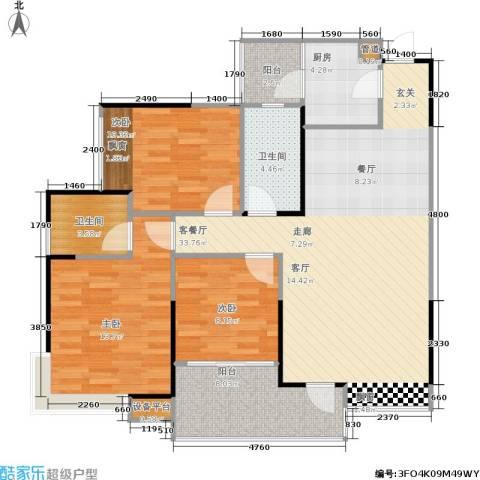 巨成龙湾3室1厅2卫1厨89.65㎡户型图