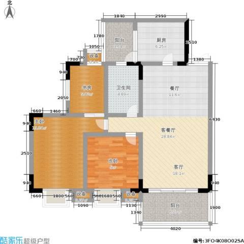 长盛花园3室1厅1卫1厨93.00㎡户型图