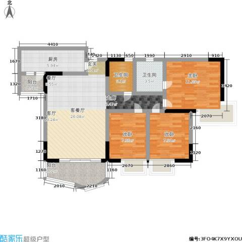 创想蓝谷黑骏3室1厅2卫1厨85.00㎡户型图