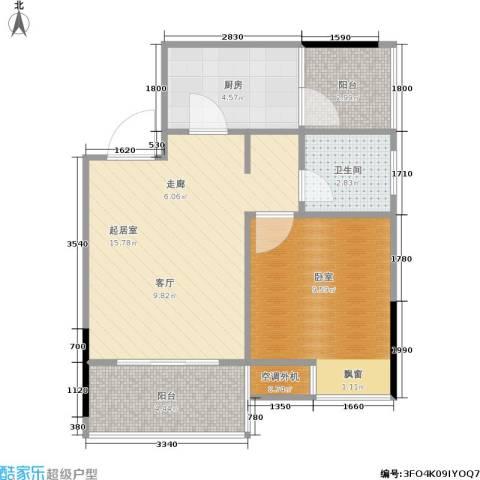 达飞玖隆城1卫1厨40.94㎡户型图
