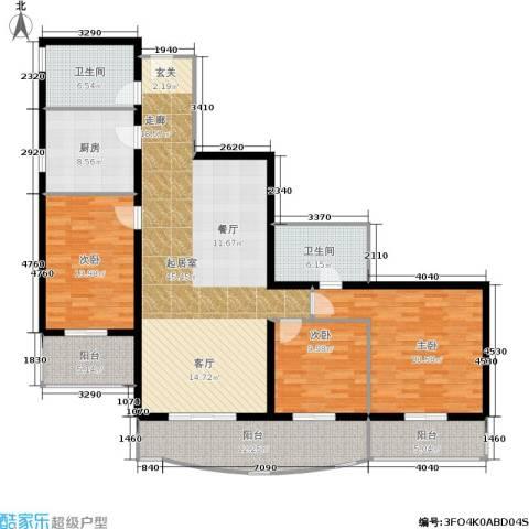 红莲晴园3室0厅2卫1厨145.00㎡户型图