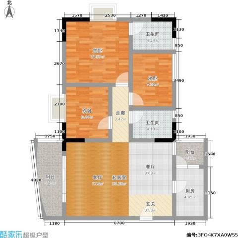 重啤龙泉苑3室0厅2卫1厨102.00㎡户型图