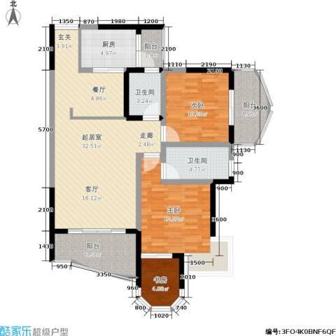 云岭天城3室0厅2卫1厨85.82㎡户型图