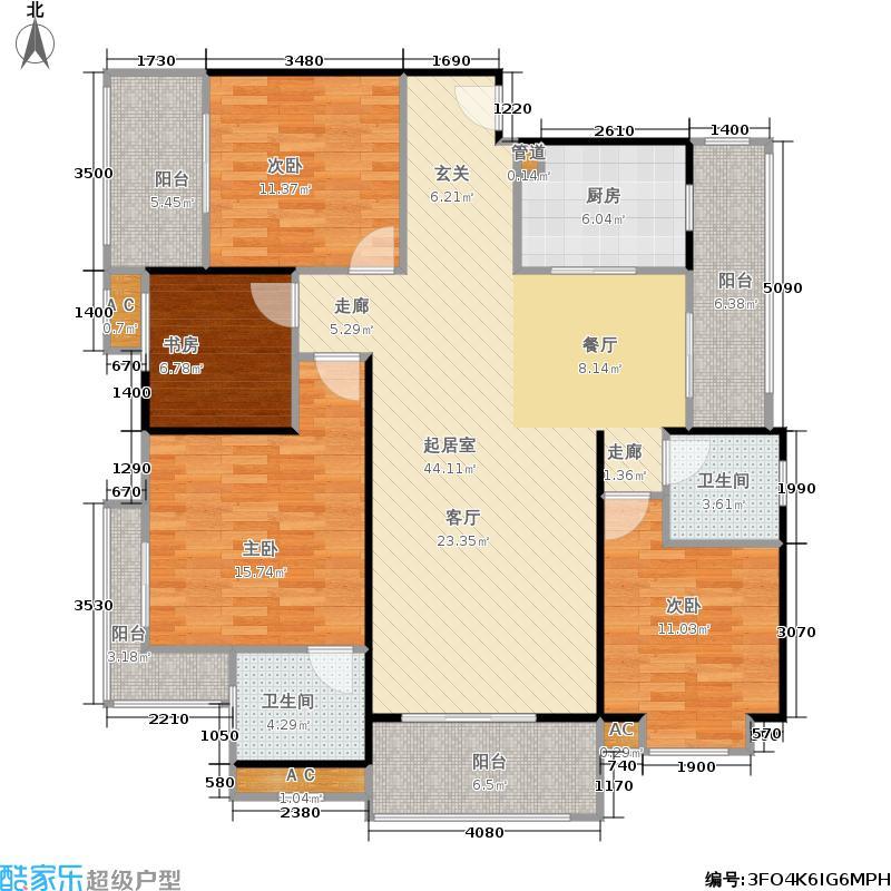 融创天鹅湖一期4房2厅2卫140平米户型