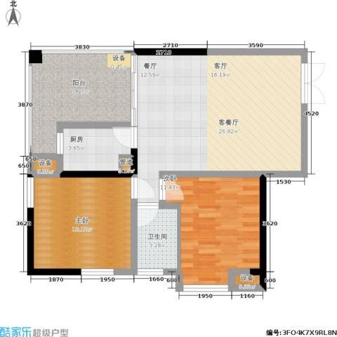 当代城2室1厅1卫1厨72.00㎡户型图