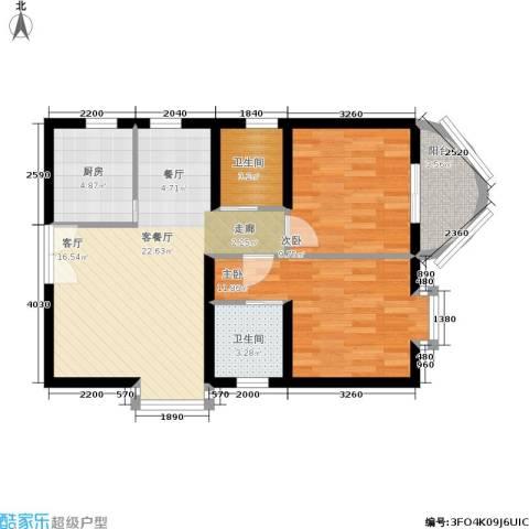 温馨家园2室1厅2卫1厨85.00㎡户型图