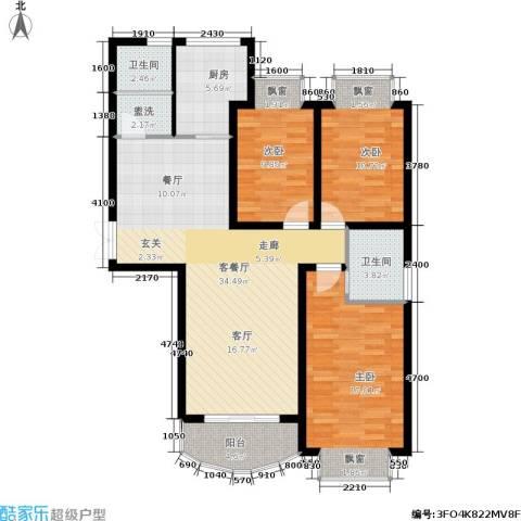 天地新城3室1厅2卫1厨103.00㎡户型图