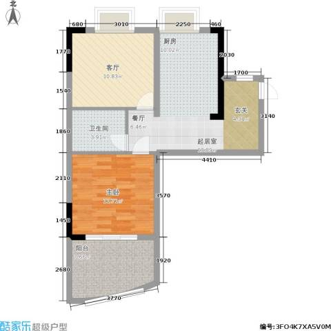 东方紫竹苑1室1厅1卫0厨53.00㎡户型图