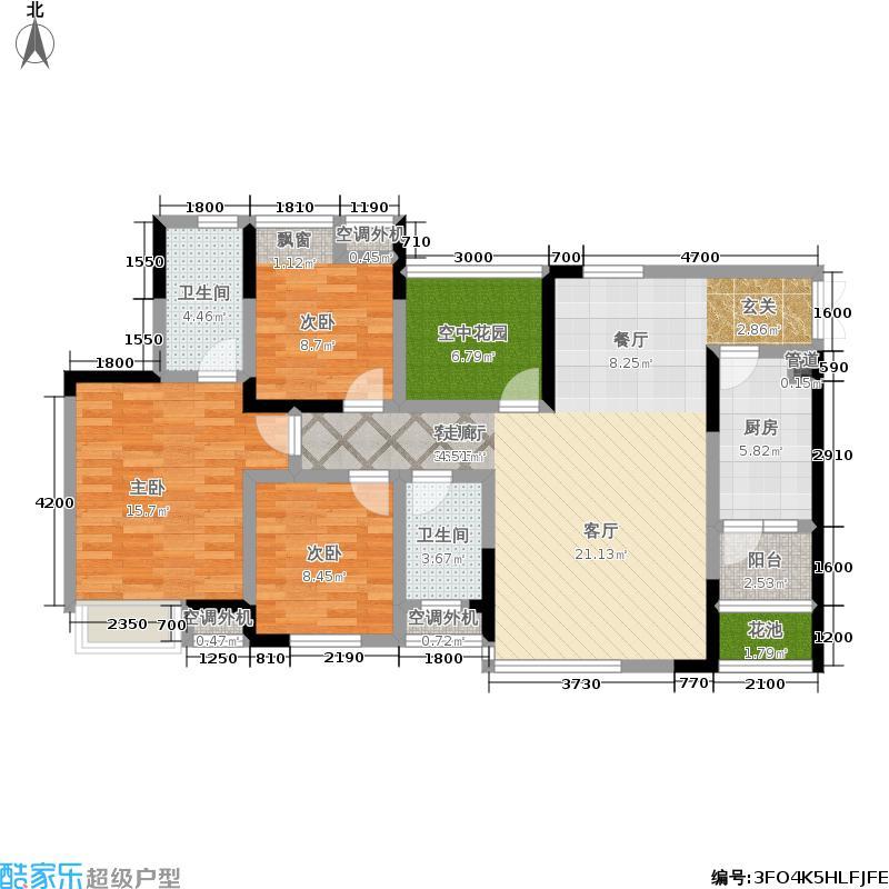 中凯翠海朗园99.38㎡中凯翠海朗园户型图三房二厅二卫-套内面积99.38平方米-57套(1/2张)户型10室