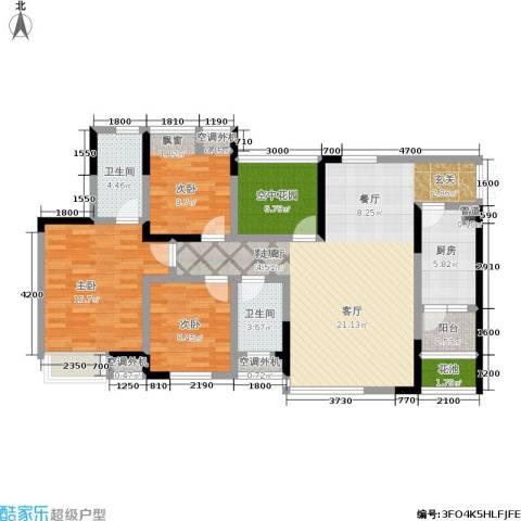 中凯翠海朗园3室1厅2卫1厨99.00㎡户型图