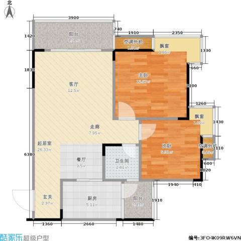 达飞玖隆城2室0厅1卫1厨65.15㎡户型图