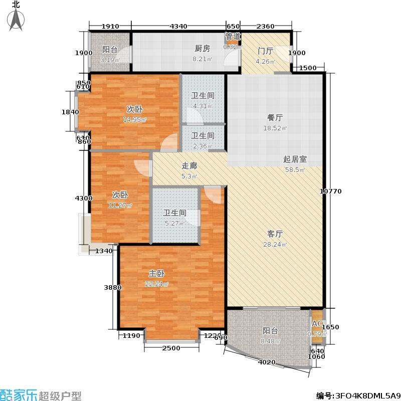 京贸国际公寓144.71㎡三室两厅两卫户型