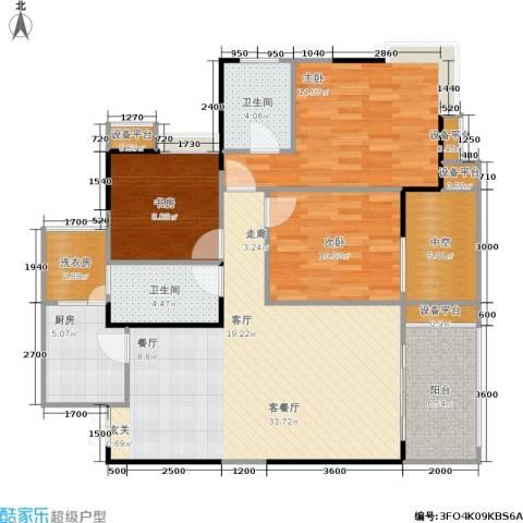 万象时代3室1厅2卫1厨103.44㎡户型图